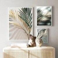 Dawnshine     peinture de diamant 5D  feuille de palmier doree  broderie de diamant  Art mural nordique  Kit de point de croix fait a la main  decoration de maison scandinave