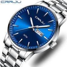 New CRRJU Mens Watches Top Brand Luxury Stopwatch Sport Waterproof Quartz Watch Man Fashion Business