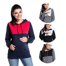 Women Maternity Clothes Sweatshirt Hoodies Patchwork Long Sleeve Breastfeeding Pregnancy Tops Layere