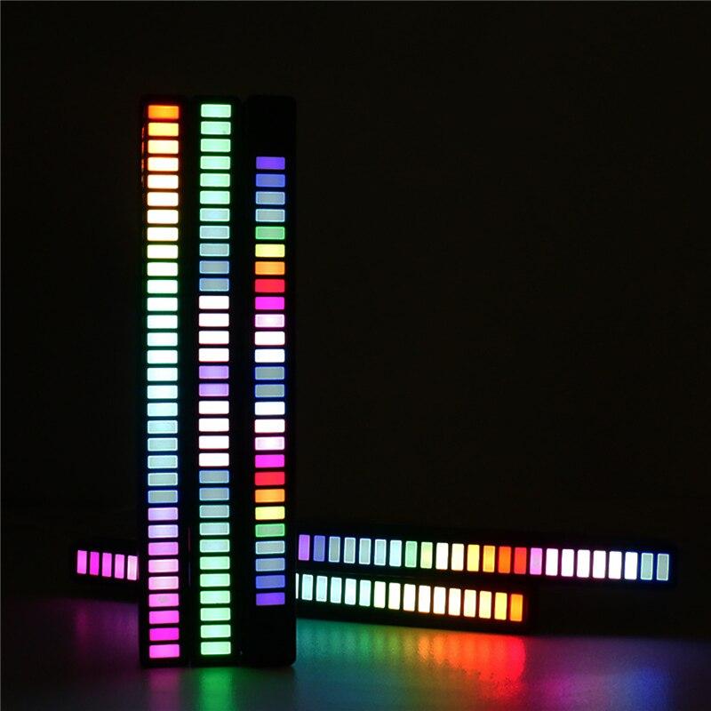 32 الخرز ضوء LED قطاع ضوء التحكم الصوتي بيك اب إيقاع ضوء سيارة الموسيقى مصباح لتهيئة الجو RGB أنبوب USB غرفة ديكور للطاولات مصباح