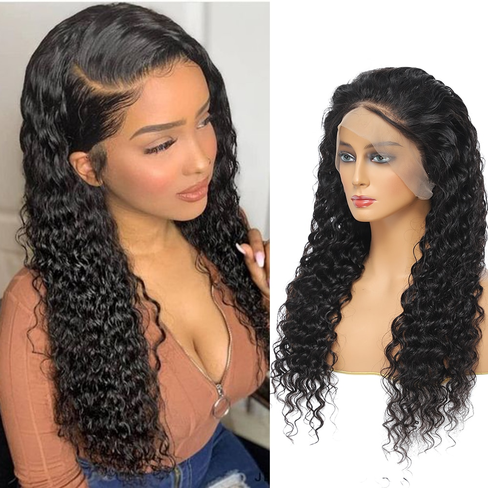 Malaysian Deep Wave Lace Front Human Hair Wigs Cheap Glueless Wavy Lace Front Headband Wigs For Black Women Fast Delivery Wigs