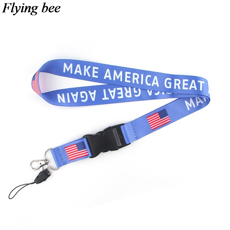Flyingbee The American flag Lanyard Phone Rope Keychains Phone Lanyard for Keys ID Card Cartoon Lanyards For Men Women X0591