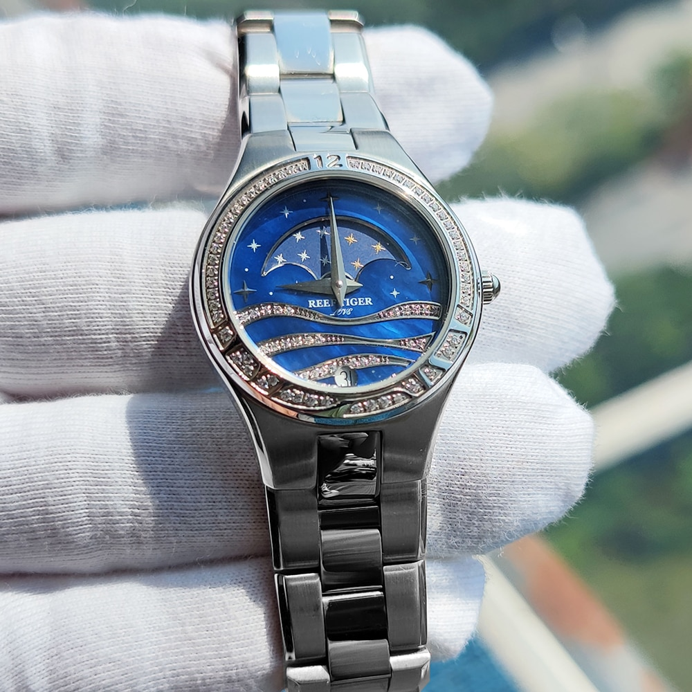 Reef Tiger/RT Fashion Causal Watches for Women Moon Phase Watch Stainless Steel Blue Wrist Watches RGA1524 enlarge