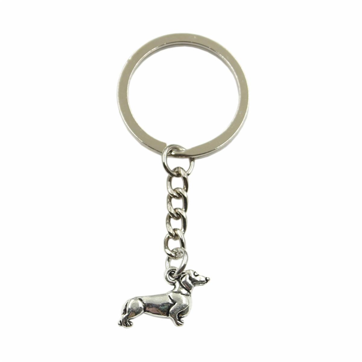 Neue Mode Für Männer Hohe Qualität Auto Keychain DIY Metall Halter Kette Silber Farbe Hund Dackel Anhänger Für Geschenk
