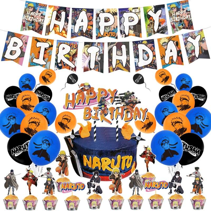 زينة كعكة عيد ميلاد الأطفال ، موضوع الرسوم المتحركة ، لافتة عيد ميلاد سعيد ، بالونات لاتكس ، هدايا حفلات Uzumaki