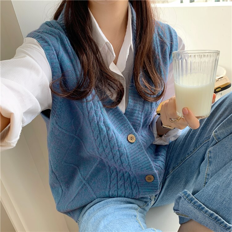 CMAZ Sweater Vest Women Elegant Solid Fashion Korean V-neck Loose Cardigan Spring Fall Ladies Knitwe