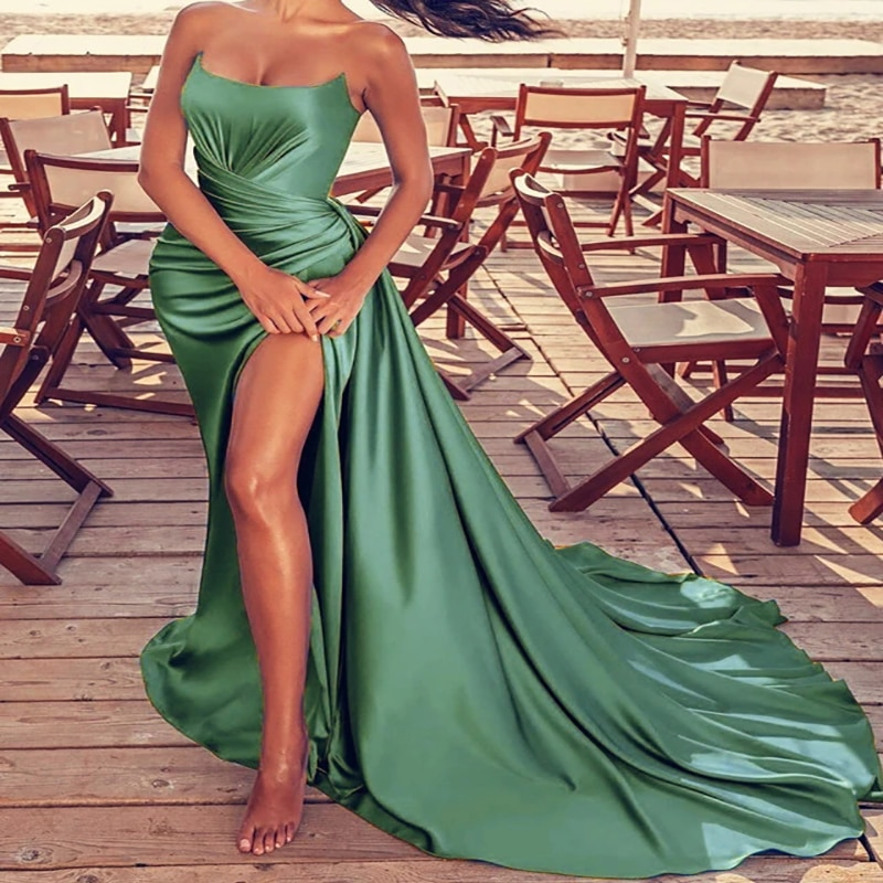 High Slit Green Mermaid Evening Dress Sexy Strapless Elastic Satin Long Formal Prom Dresses 2021 Pleated African Party Gowns