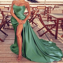 High Slit Green Mermaid Evening Dress Sexy Strapless Elastic Satin Long Formal Prom Dresses 2021 Ple