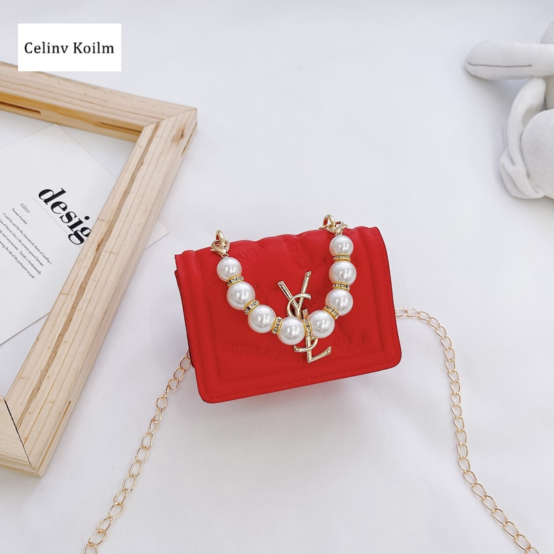 Celinv Koilm Spring And Summer Outing Girl Foreign Style Pearl Chain Children's Bag Mini Portable Messenger Coin Purse Female
