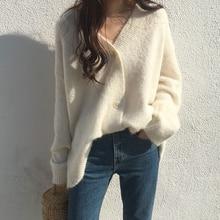 Yocalor Mode Vrouwen Winter Solid Mohair Vest Trui Zachte Gebreide Oversize Batwing Mouwen Single Breasted Casual Top