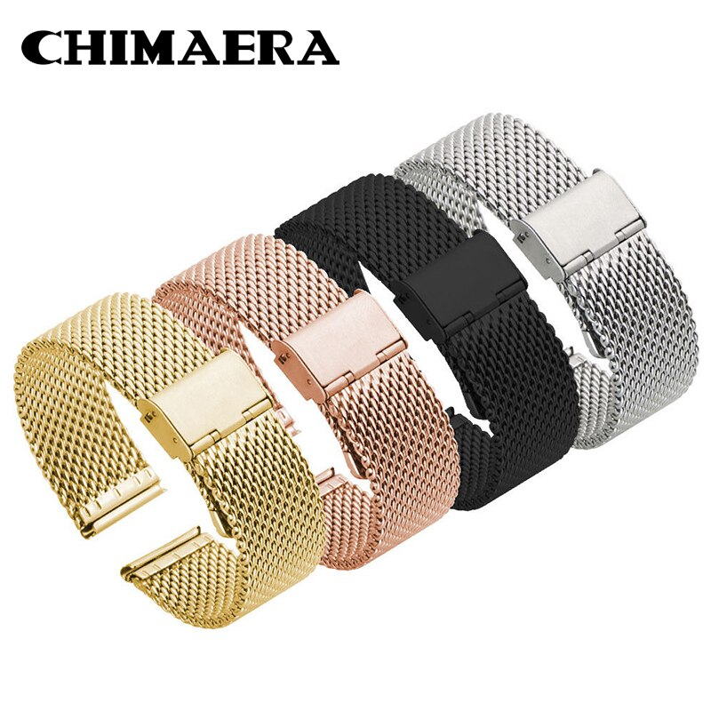 Chimaera milanese loop pulseira de relógio de aço inoxidável extremidade reta malha fivela banda relógio 4 cores shellhard