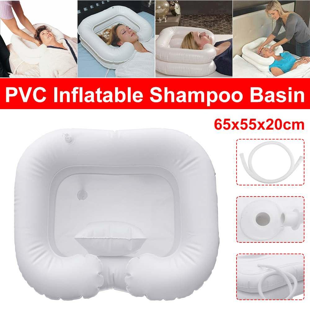 Lavabo inflable de champú con almohada lavabo portátil de lavado de pelo lavabo inflable para Discapacitados de viaje 65x55x20cm