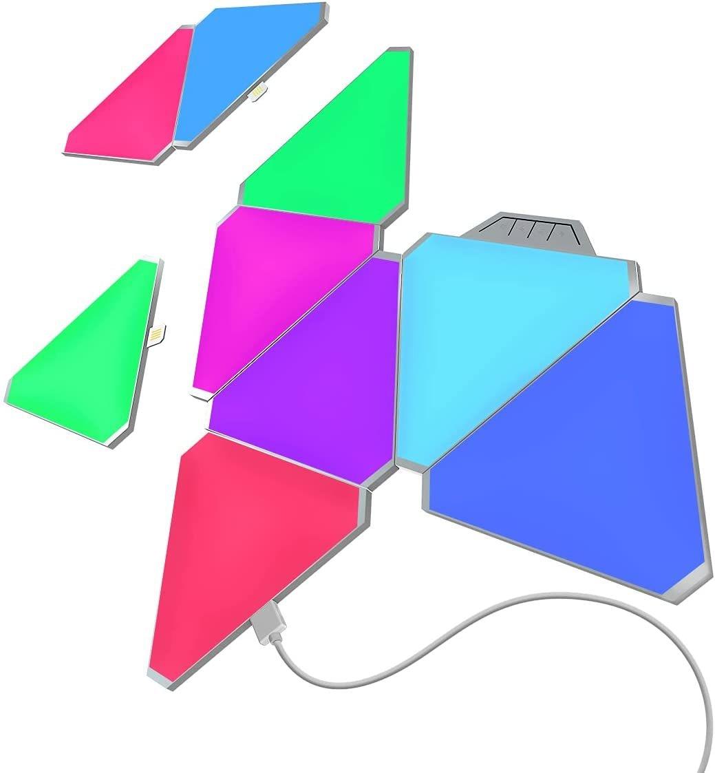 Smart Home Light Panels Rythem Edition, WiFi Smart LED Light Kit DIY Rhythm Music Syncing Smarter, Triangle Lights, Gaming Room