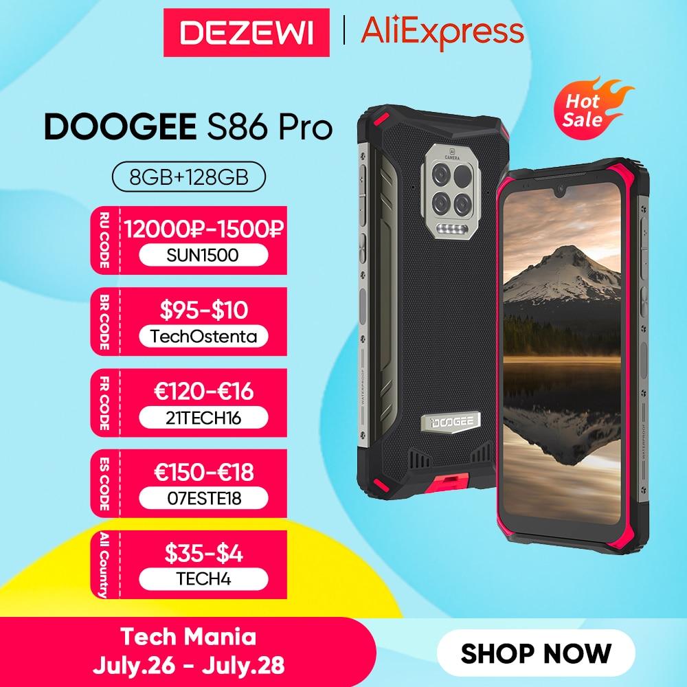 Глобальная версия DOOGEE S86 Pro 8500 мАч супер Батарея 8 ГБ 128 Встроенная память инфракрасный ЛОБНЫЙ термометр смартфон Helio P60 Octa Core