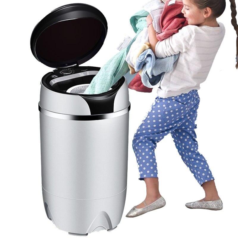 Pequeña lavadora portátil de acero inoxidable, mini lavadora semiautomática para niños, lavadoras de ropa, luz azul, bacteriostática