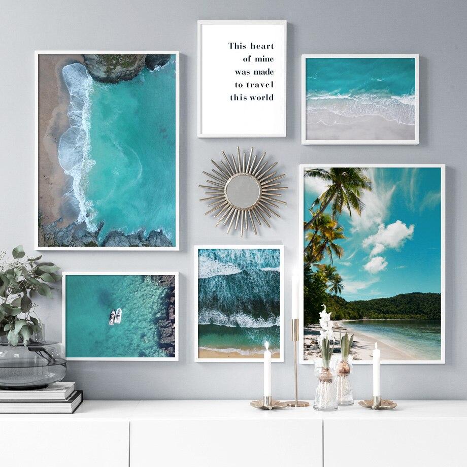 Palmera, playa, mar, montaña, cuadro sobre lienzo para pared, carteles nórdicos e impresiones, paisaje, imágenes de pared para decoración para sala de estar