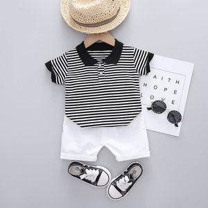 Children Cotton Clothes Baby Boys Lapel Strips Cartoon T Shirt Shorts Pants 2Pcs/sets Infant Kids Toddler Tracksuits 0-5 Years