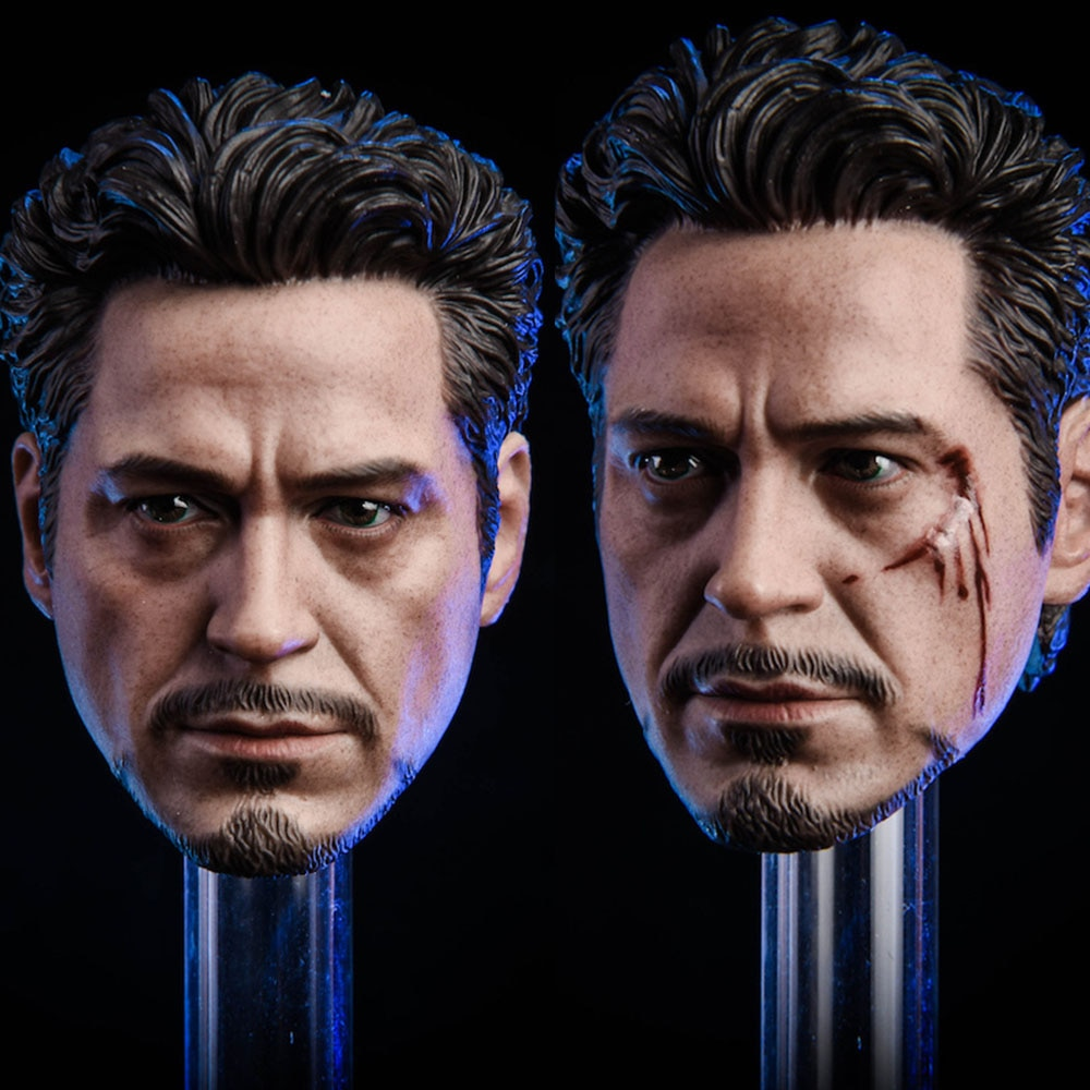 In Stock 1/6 Scale Male Head Sculpt MK5 Tony 2.0 Head Carved Model Normal/Damaged Version for 12'' Action Figure Body Accessory недорого