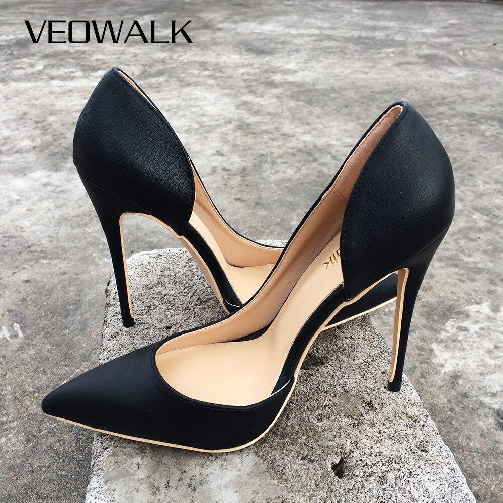 Veowalk-حذاء نسائي بكعب عالٍ ، حذاء مثير ، أنيق ، مدبب ، عصري ، أسود ، قابل للتخصيص ، قبول