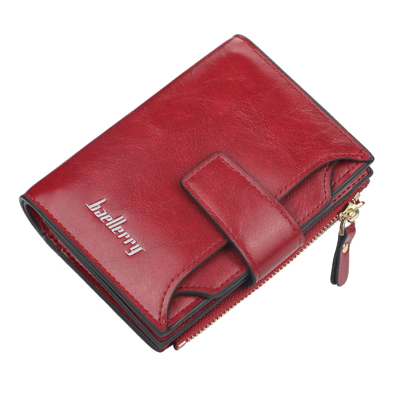 Baellerry Black Leather Wallet for Women Small Zipper Coin Purse Short Ladies Wallets ID Credit Card Holder Red Pink Girl Walet