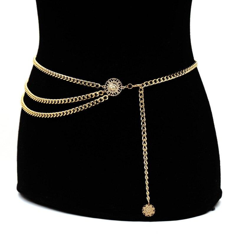 Nueva Cadena de cintura de Metal con personalidad, cinturón chapado en oro para decoración de vestidos, cinturones de diseño para niñas, cinturón de cadena para mujeres