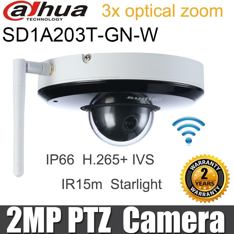 Dahua 2MP Wifi cámara IP PTZ DH-SD1A203T-GN-W Starlight IR 15 metros inalámbrico WDR 3X Zoom óptico HD 1080P cámara de red