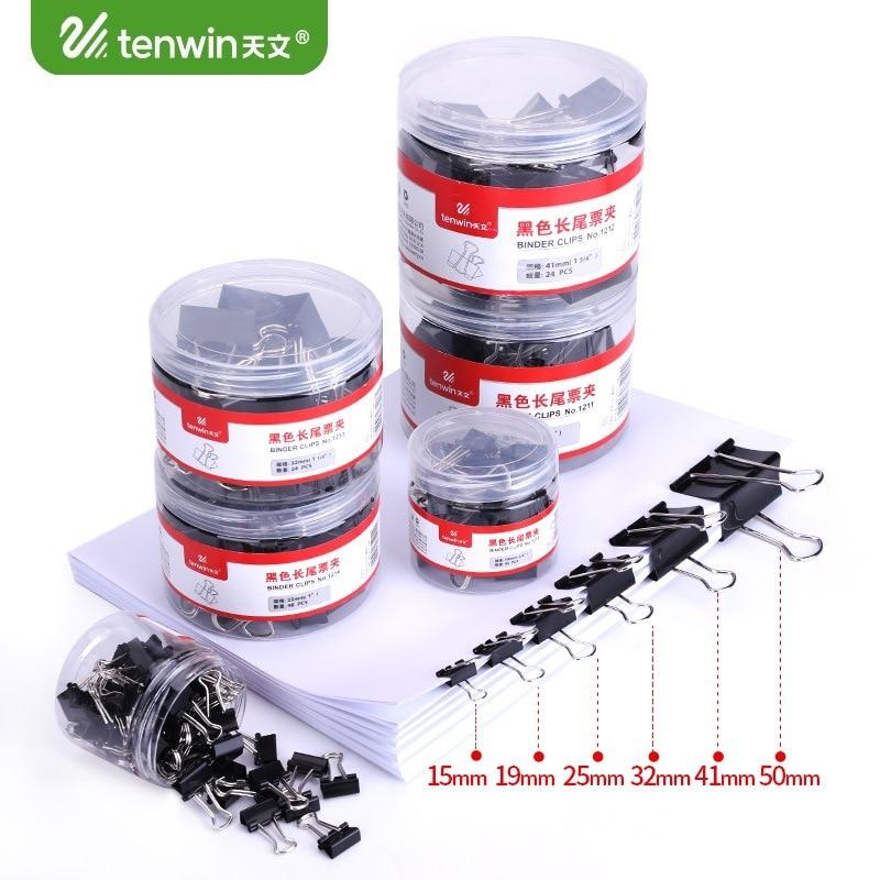 12/20 pcs/lot Cute 50/41mm Binder Clips Black Metal Clamps Kawaii Memo Paper Clips Photo Holder Office Binding Supplies