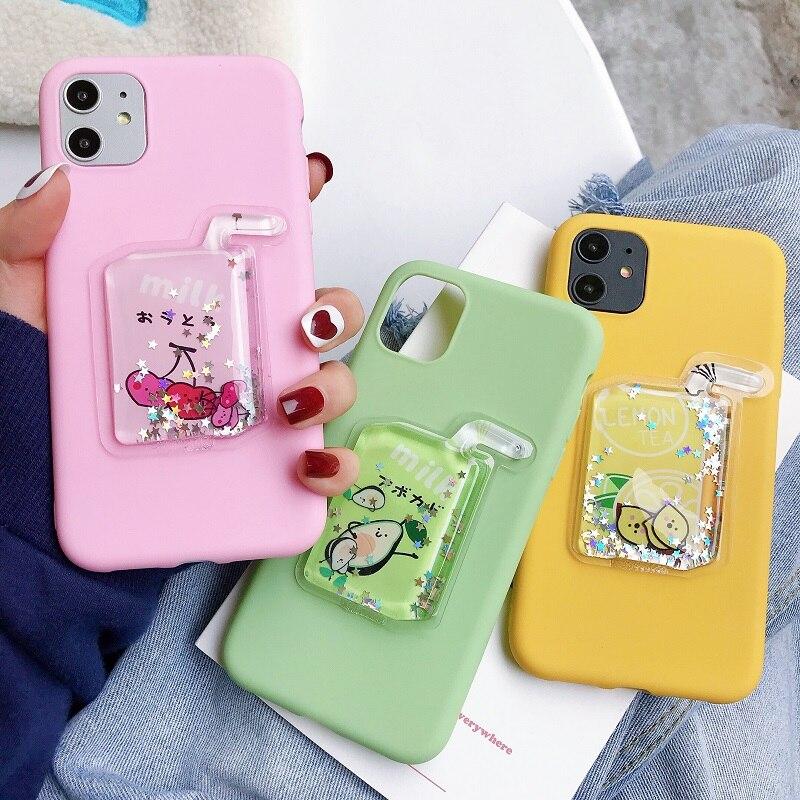 3D Dekompression Zitrone Obst Tee Trinken Handy Fall für iPhone 6 6S 7 8Plus X XR XSMAX 11Pro 11Promax TPU Weiche Silikon Bac