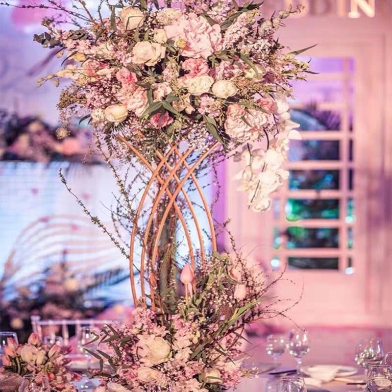 4 قطعة زهرية الزهور فازات توضع على الأرض العمود الوقوف المعادن الطريق الرصاص الزفاف محور وعاء هندسي الجدول الرف للديكور المنزل الحدث
