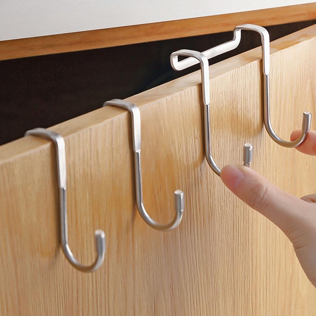 1pc door 1PC S-type Door Hanger Hook Stainless Steel Free Punching Cabinet Door Without Trace Clothes Hook Door Back Wall Mounted Hooks