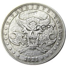 HB(87)US Hobo 1921 Morgan Dollar Skull Zombie Skeleton Silver Plated Copy Coins