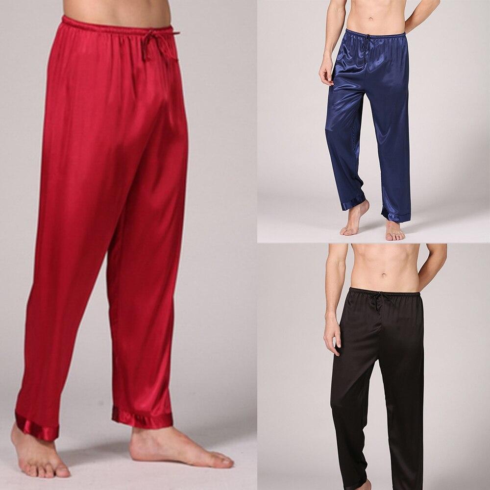 Mens Silk Satin Pajamas Pyjamas Pants Lounge Pants Sleep Bottoms Free Shipping M L XL 2XL 3XL  Plus