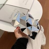 fashion geometric mini crossbody bag woman solid chain evening hard shoulder bag women designer luxury brand womens clutch bags
