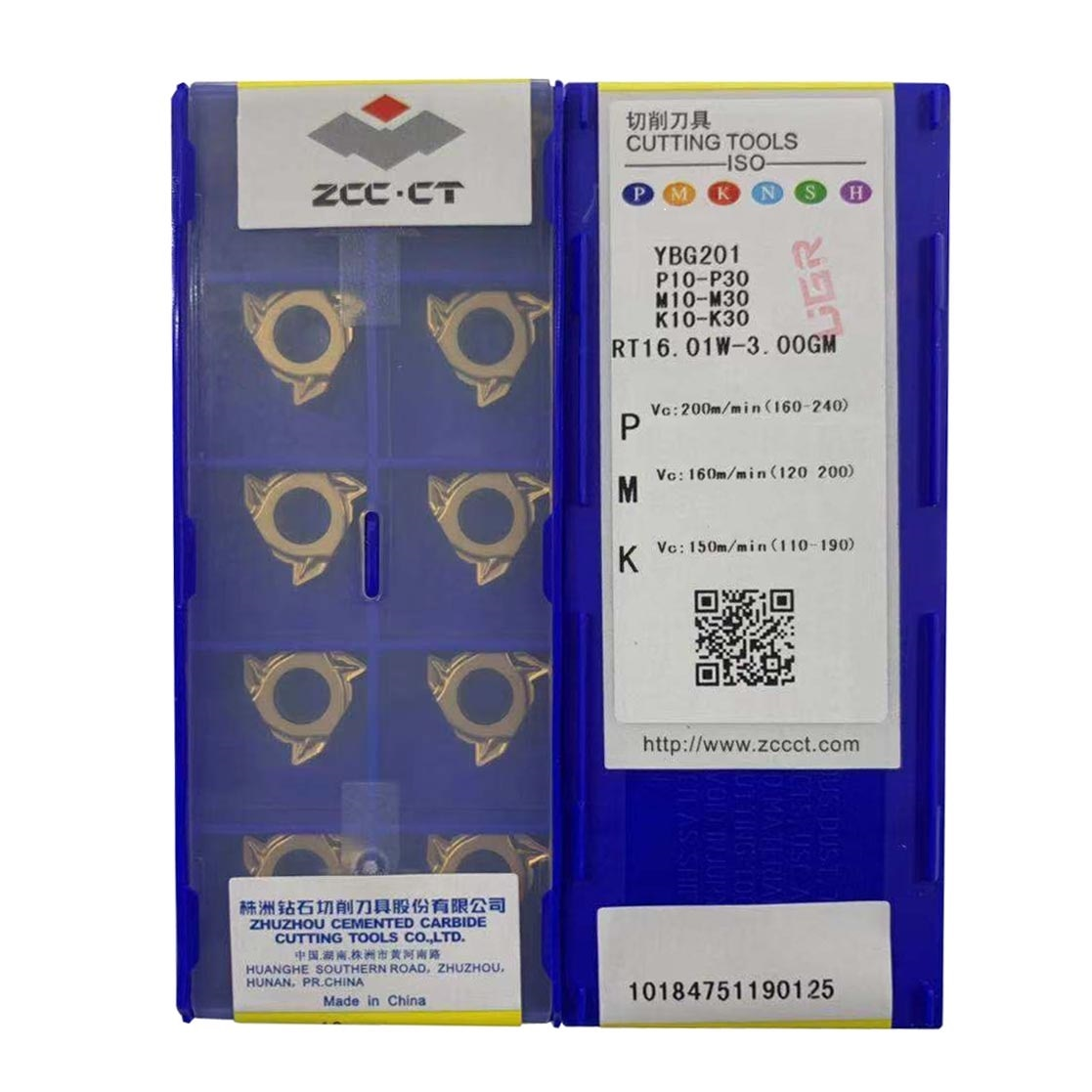Inserto de rosca Original ZCC RT16.01W-3.0GM YBG201 inserto de rosca externa 3,0 iso para acero inoxidable hierro fundido RT16 CNC
