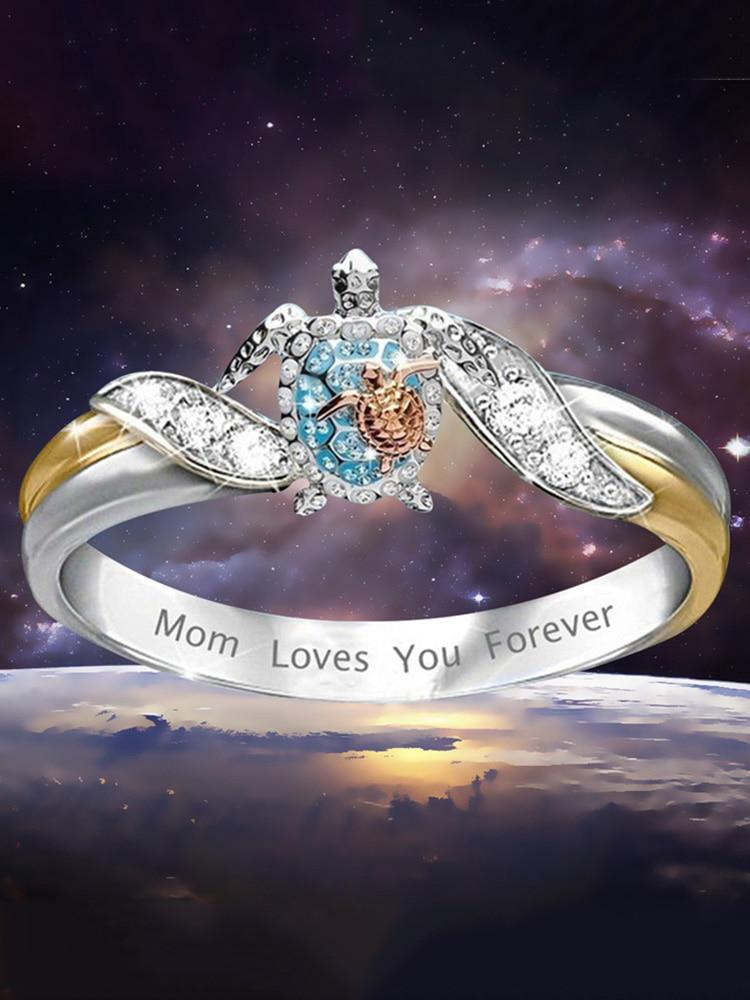 Exquisitos y encantadores anillos tortuga de circón azul blanco mamá te quiere para siempre grabado lindo mar tortuga anillos de plata mujer joyería regalo