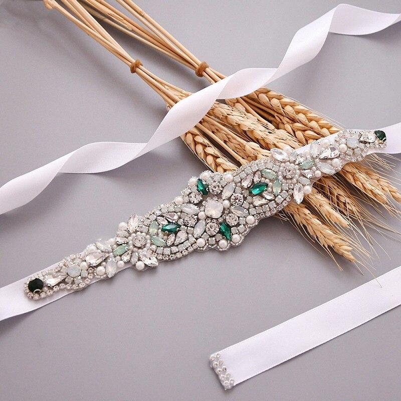 Cinturones de novia de boda de diamantes de imitación de cristal hechos...
