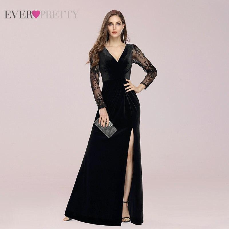 Черные вечерние платья для женщин 2020 Ever Pretty Long A Line кружевные велюровые