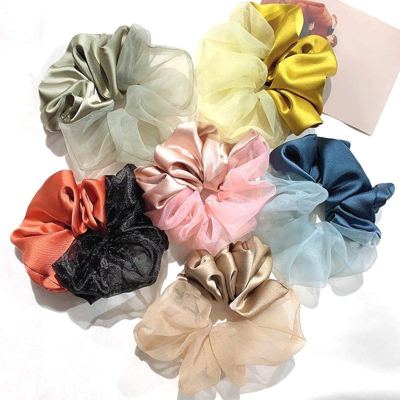 2021 New Designs Silk Satin Scrunchie Hair Accessories For Women Girls Vintage Cute Elastic Rubber Hair Tie Oversized Hair Rope