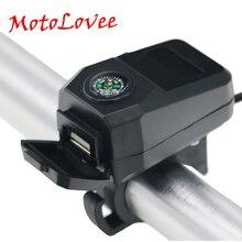 Motolovee 22mm gidon sabit şarj adaptörü USB araç DC36V-108V su geçirmez motosiklet şarj pusula güç soket 5V-1.5A