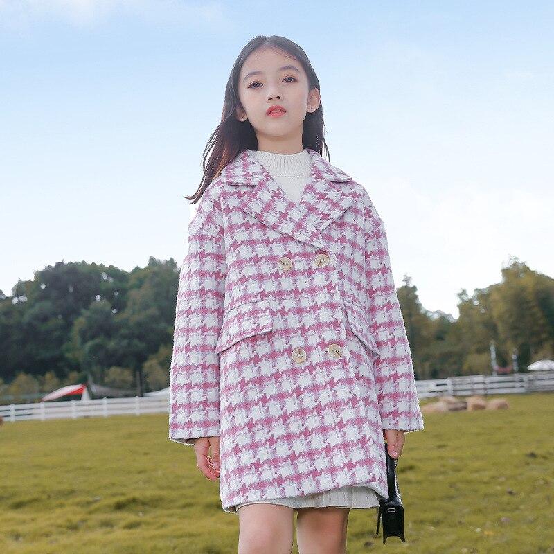الخريف والشتاء الفتيات الموضة منقوشة معطف سميكة الدافئة الصوف معطف الفتيات بأكمام طويلة زر سترة معطف منتصف طول الصوف معطف