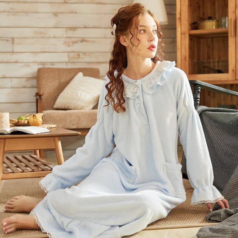 2020 outono inverno quente flanela mulher nightdress sleepwear manga longa princesa estilo senhoras nightwear casa hotel tenda viagem