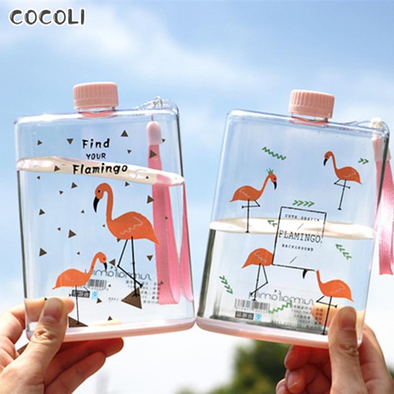 Botella de agua de flamenco transparente portátil tetera plano botellas para bebidas para deporte viaje vajilla para camping Hydro Petaca mi botella 350ml