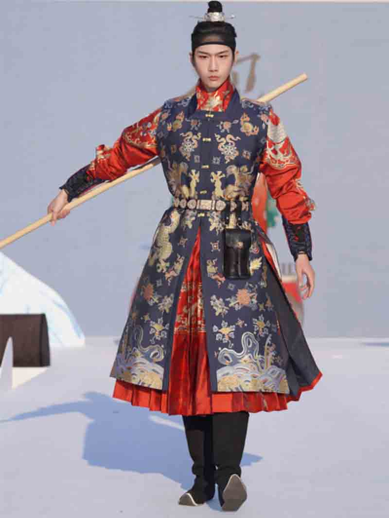 Hanfu Vest Men Ancient Chinese Long Male Cosplay Costume Fancy Dress Black/Red/Blue For Plus Size