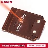 kavis brand quality leather money clip design fashion slim thin wallet travel bifold pocket mini clamp purse free engraving