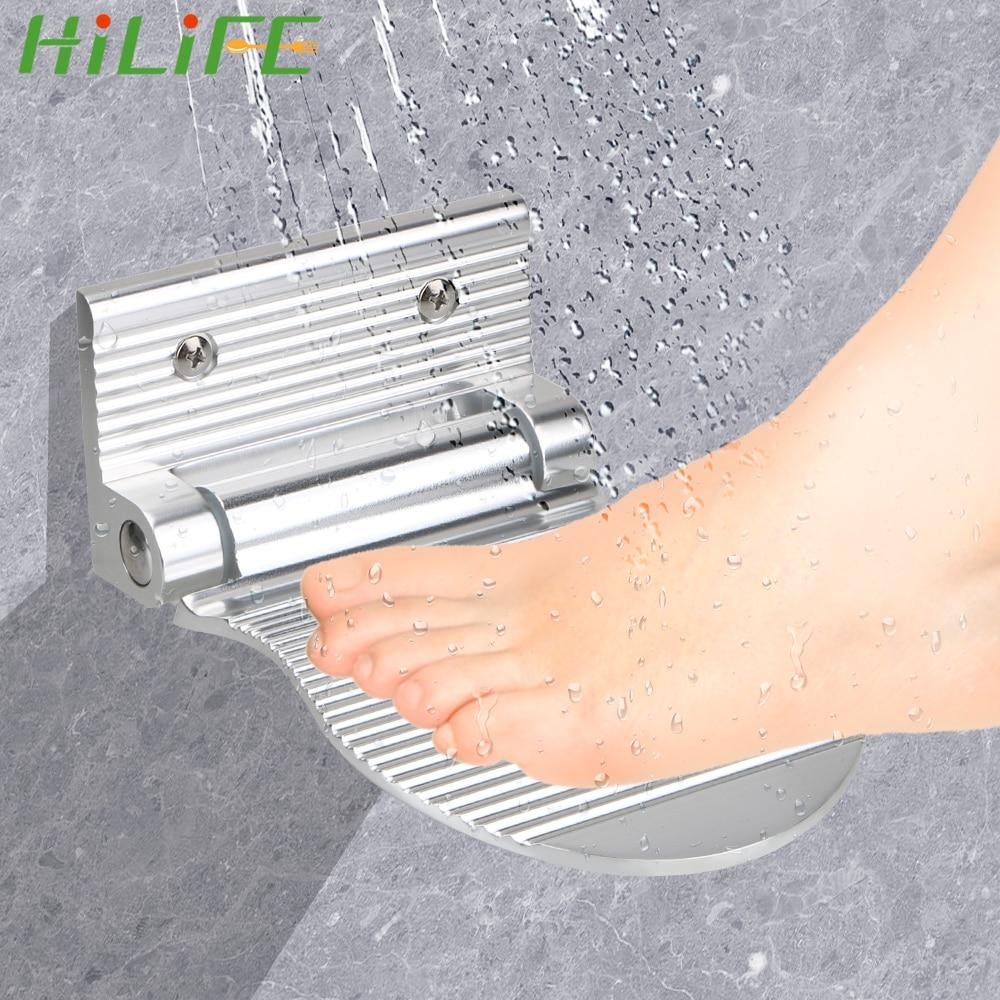 AliExpress - HILIFE Folding Hardware Pedal Aluminium Alloy Anti-slip Footrest Bathroom Rest Pedestal Shower Footstool Black/Silver