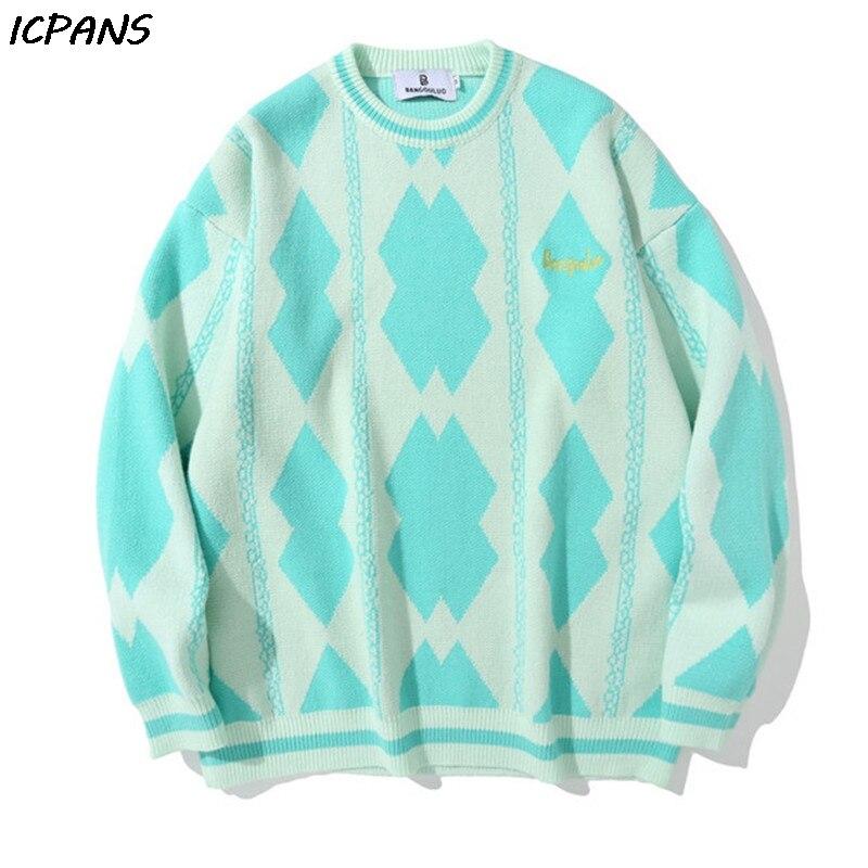 Уличная одежда для мужчин Harajuku, модные жаккардовые свитера оверсайз со стразами, Модная вязаная верхняя одежда, мужской повседневный Свобо...