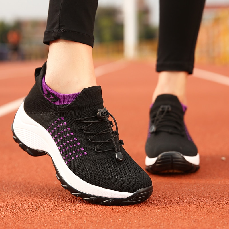 2020 Women Flat Platform Shoes Woman Sneakers for Women Breathable Mesh Tenis Ladies Shoes for Sock