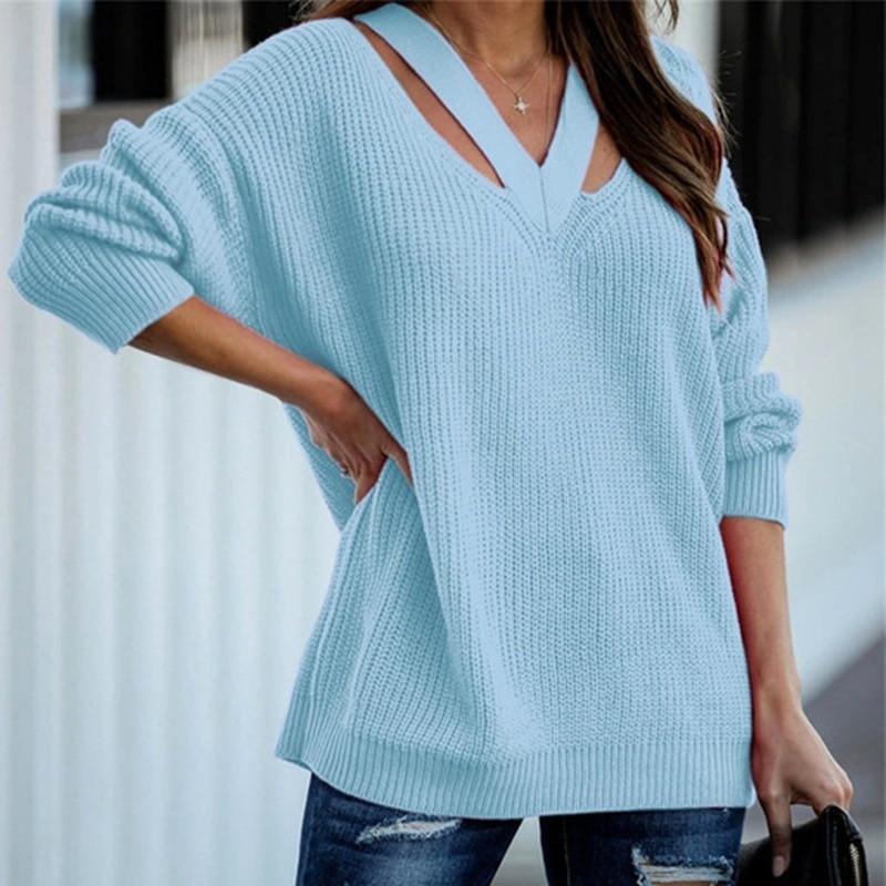 Элегантные однотонные вязаные свитера, женские свободные повседневные пуловеры с V-образным вырезом, уличные модные теплые свитера на осен...