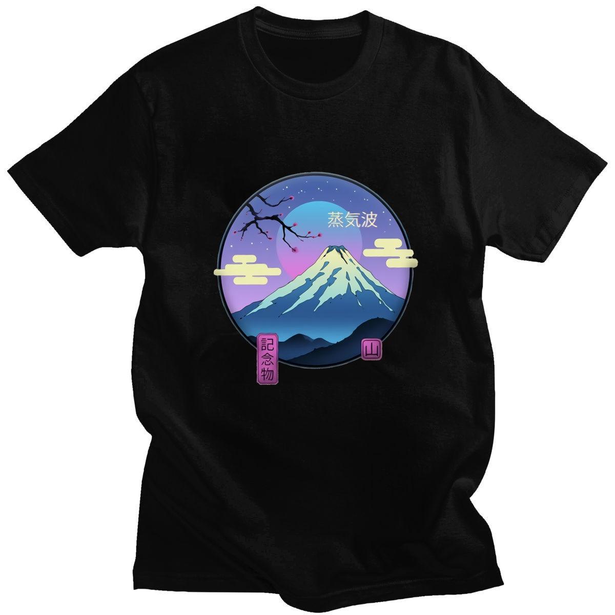 Hot Sale Mount Fuji Pattern T-shirt Japan Landscape Mans Clothing Harajuku T-shirts Men Fashion Punk Mens Short Sleeve T Shirts