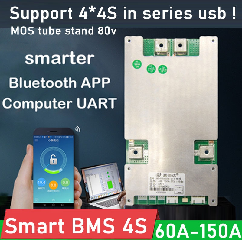 JBD smart BMS 4S 12V 60A 80A 100A 120A 150A Li-ion LifePo4 Lithium Battery Protection Board Balance Bluetooth APP Series 8S 16S
